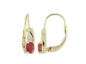 Diamantové náušnice, žluté zlato briliant, červený rubín 585/1,85 gr (3830104-0-0-94)