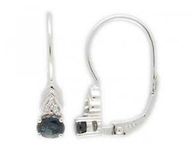 Diamantové náušnice, bílé zlato briliant, pravý safír 585/1,65 gr