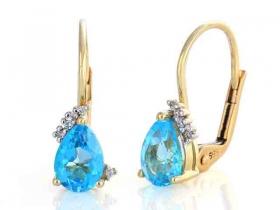 Diamantové náušnice, žluté zlato briliant, modrý topaz (blue topaz) 585/1,95 gr (3830062-5-0-93)