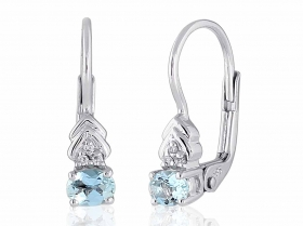 Diamantové náušnice, bílé zlato briliant, světle modrý akvamarín 585/1,8 gr