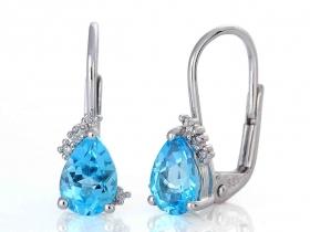 Diamantové náušnice, bílé zlato briliant, modrý topaz (blue topaz) 585/1,7 gr (3880062-0-0-93)