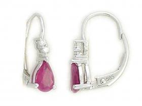 Diamantové náušnice, bílé zlato briliant, červený rubín 585/1,65gr (3880098-0-0-94)