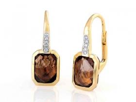 Diamantové náušnice, žluté zlato briliant, záhněda (smoky quartz)