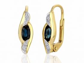 Diamantové náušnice, žluté zlato briliant, tmavý safír 585/2,05 gr (3830915-5-0-92)