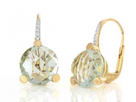 Diamantové náušnice, žluté zlato briliant, ametyst zelený
