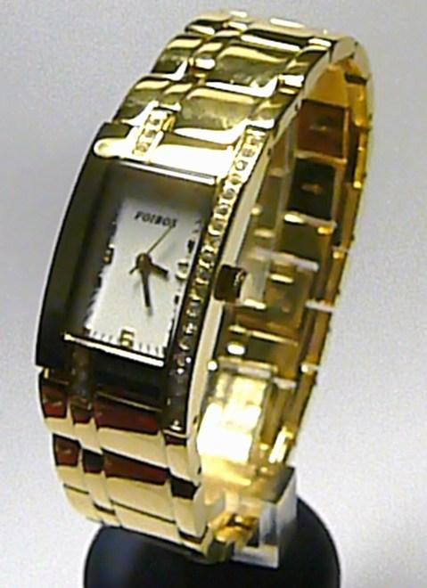 Dámské ocelové zlacené hodinky Foibos 3438G se zirkony 3ATM