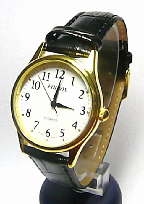 Pánské elegantní zlaté hodinky Foibos 445.2 na koženém černém pásku