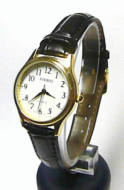 Dámské společenské ocelové zlacené hodinky Foibos 445.7 na černé kůži