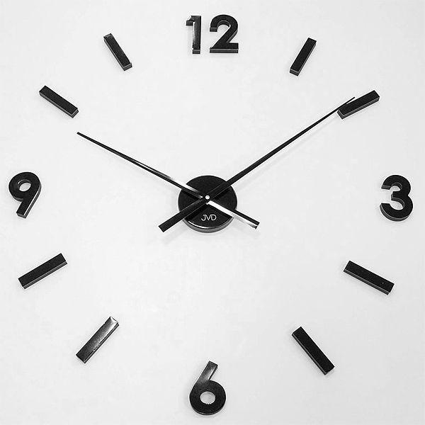 Černé nalepovací moderní nástěnné hodiny JVD HW53.4