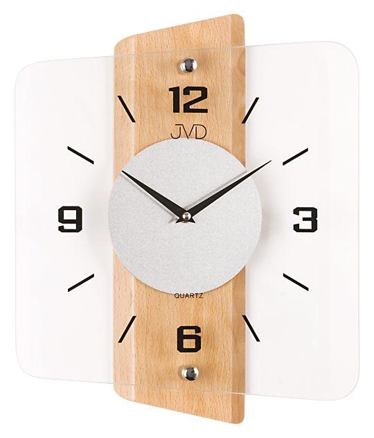 Skleněné dřevěné moderní nástěnné hodiny JVD quartz N20131.68