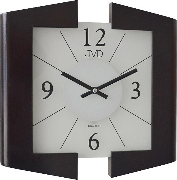 Černé skleněné dřevěné luxusní nástěnné hodiny JVD N12047. 23