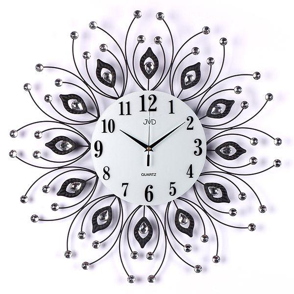 Obrovské luxusní kovové černé nástěnné designové hodiny JVD HJ38 pr. 58cm (POŠTOVNÉ ZDARMA!!)