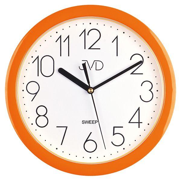 Moderní oranžové dětské nástěnné netikající tiché hodiny JVD sweep HP612.11