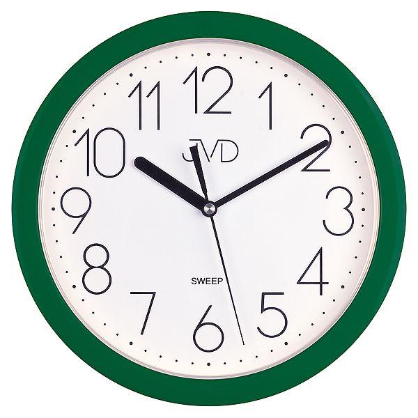 Zelené plastové nástěnné netikající tiché hodiny JVD sweep HP612.13