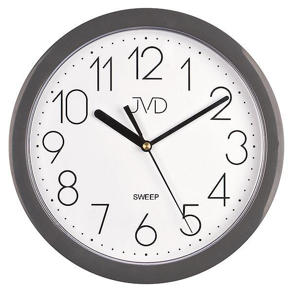 Šedé plastové nástěnné netikající tiché hodiny JVD sweep HP612.14