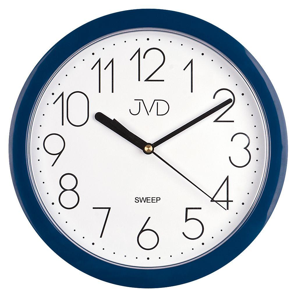 Modré plastové nástěnné netikající tiché hodiny JVD sweep HP612.17