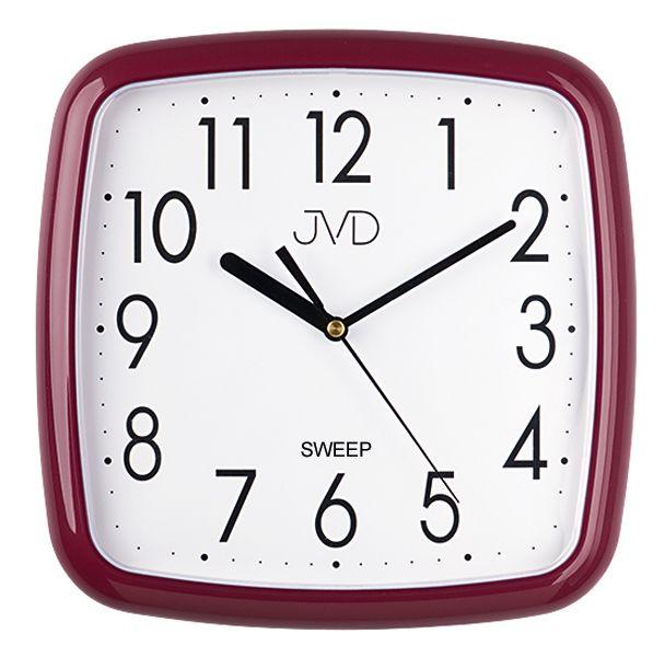 Červené bordové nástěnné tiché netikající hodiny JVD sweep HP615.13