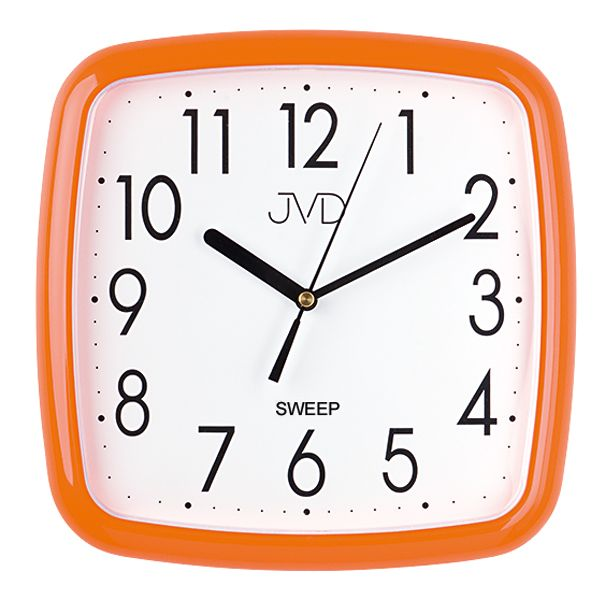 Oranžové hranaté barevné nástěnné tiché netikající hodiny JVD sweep HP615.7