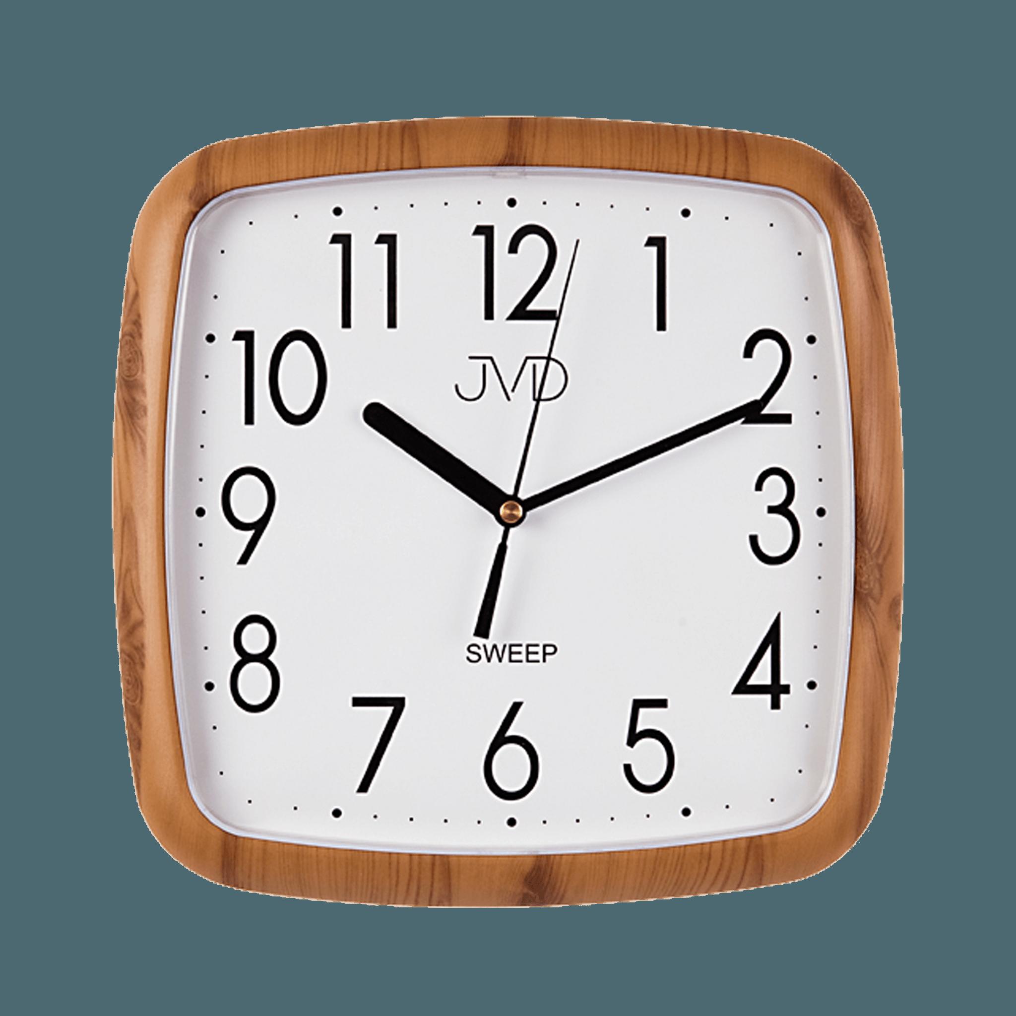 Hranaté nástěnné hodiny JVD quartz H615.4 imitace dřeva (sweep - plynulý chod - netikající hodiny)
