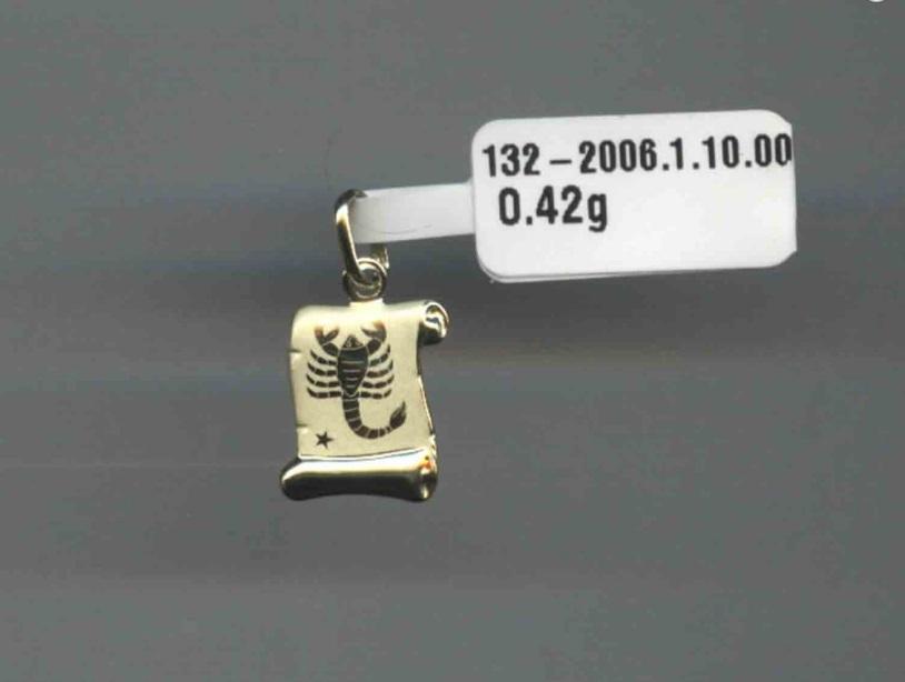 Zlatý přívěsek - zlaté znamení na pergamenu: vodnář,ryby,beran,býk,rak,blíženci,
