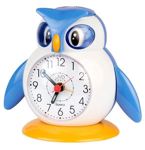 Modrý dětský budík JVD SR51 - tučňáček
