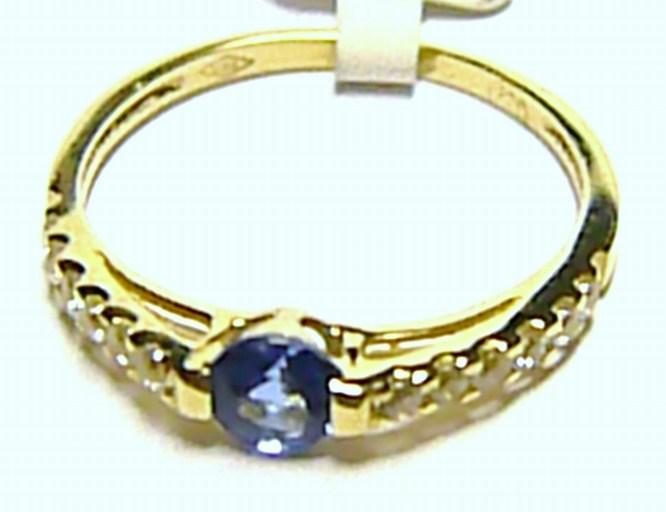 Zásnubní zlatý prstýnek s velkým modrým topazem vel. 52 585/1,25gr 1810139 (1810139 )