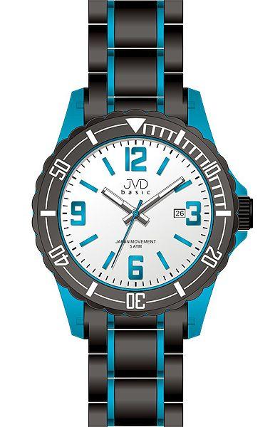 Luxusní chlapecké modro-černé hodinky JVD basic J3004.1 pro teenagery 5ATM