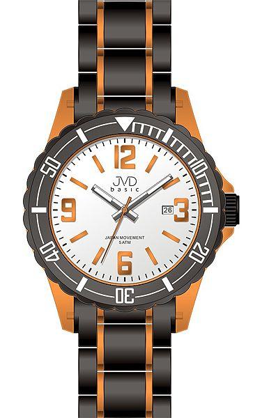 Luxusní dětské oranžovo-černé hodinky JVD basic J3004.2 pro teenagery 5ATM