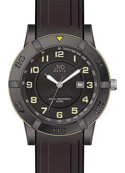 Černé silikonové vodotěsné hodinky JVD basic J3003.1 pro teenagery