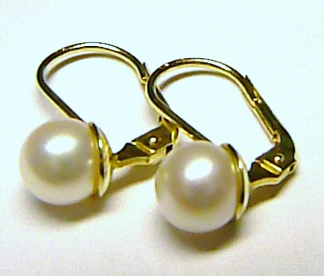 Dámské luxusní zlaté náušnice s bílými perlami pr.6 mm 585/2,01gr 235040097