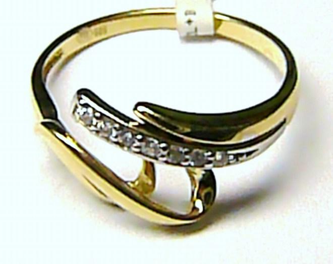Luxusní velký zlatý prsten se zirkony 8 ks vel. 55 585/1,77gr P094