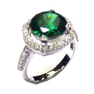 Luxusní rhodiovaný stříbrný prsten JVD SVLSL30458L1F2 se smaragdem