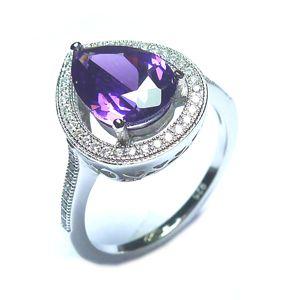 Luxusní rhodiovaný stříbrný prsten JVD SVLSE60201C1F2 s ametystem