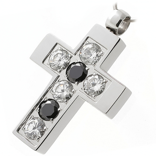 Ocelový přívěsek - křížek z chirurgické oceli z černými a čirými zirkony 313395