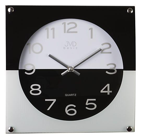 Moderní skleněné černo bílé nástěnné hodiny JVD N28114.2