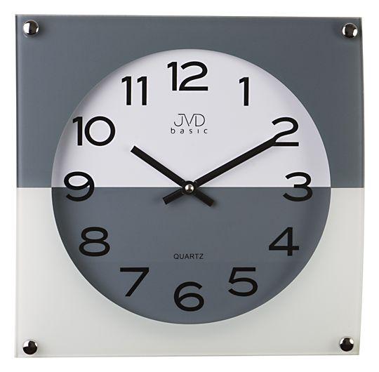 Skleněné módní šedo bílé Nástěnné hodiny JVD N28114.3