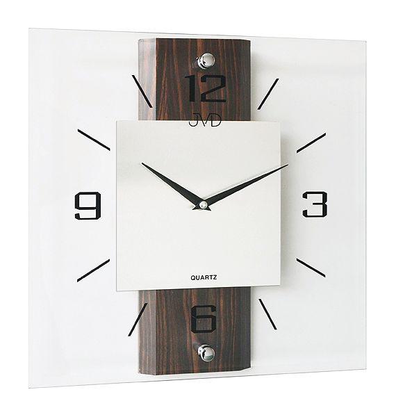 Tmavě dřevěné skleněné nástěnné hodiny JVD N2231.77