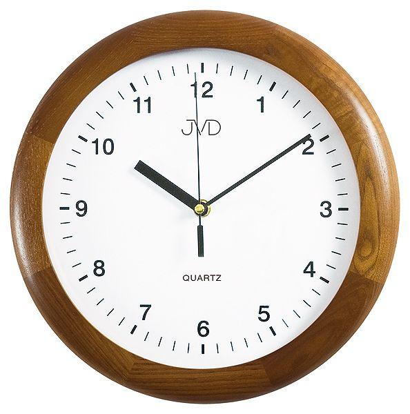 Tmavě dřevěné kulaté nástěnné hodiny JVD quartz N2341.11