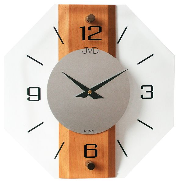 Hranaté dřevěné skleněné nástěnné hodiny JVD quartz N2238.41