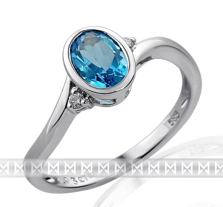 Zásnubní zlatý prsten s diamantem, bílé zlato briliant, modrý topaz (blue topaz)