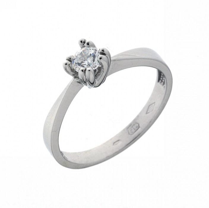 Zásnubní prsten bílé zlato s velkým zirkonem - nejprodávanější