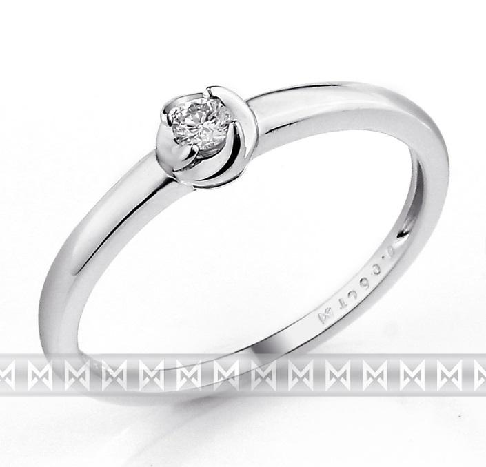 Zásnubní prsten s diamantem, bílé zlato brilianty (3861319-0-53-99)