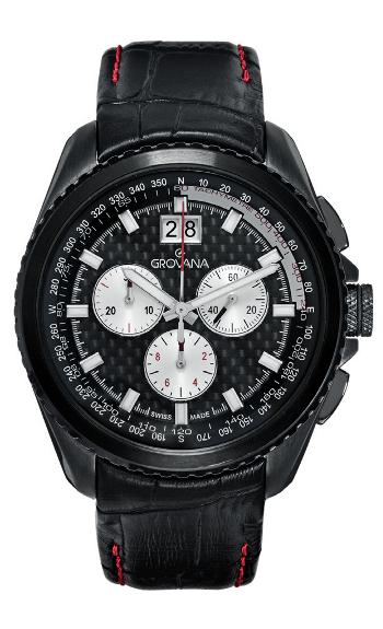 Pánské luxusní švýcarské vodotěsné ocelové hodiny Grovana 1621.9577 se safírovým