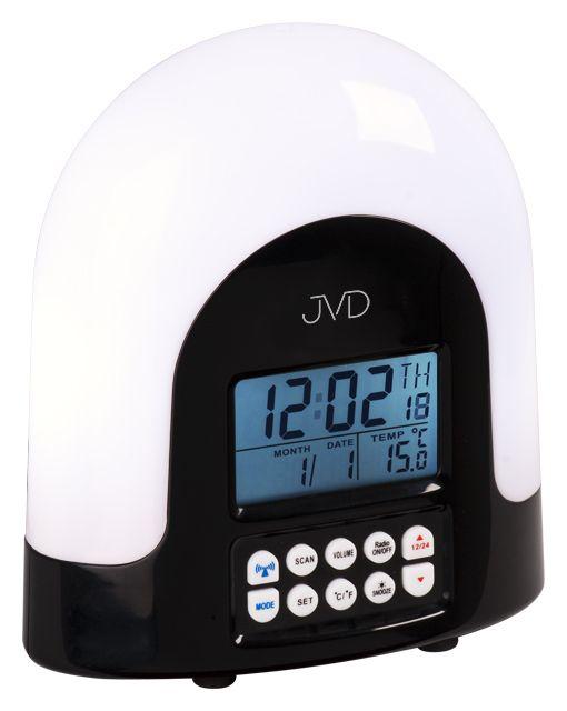 Rádiem řízený černý budík JVD RB298.1 s rádiem,teploměrem a lampičkou