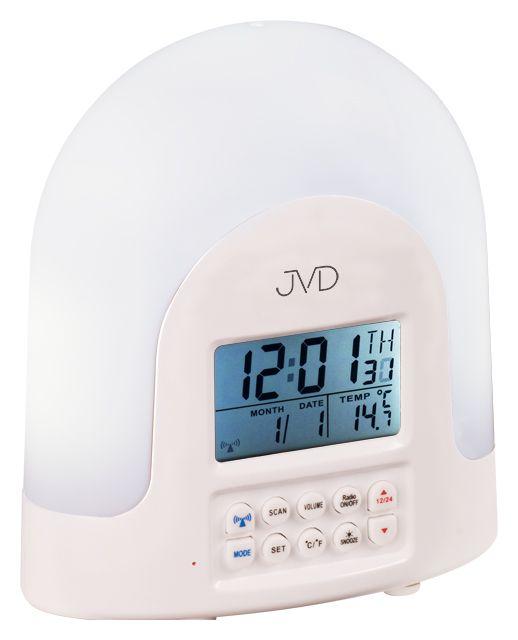 Rádiem řízený bílý budík JVD RB298 s rádiem,teploměrem a lampičkou