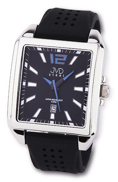 Ocelové moderní hranaté pánské náramkové hodinky JVD steel J1081.3