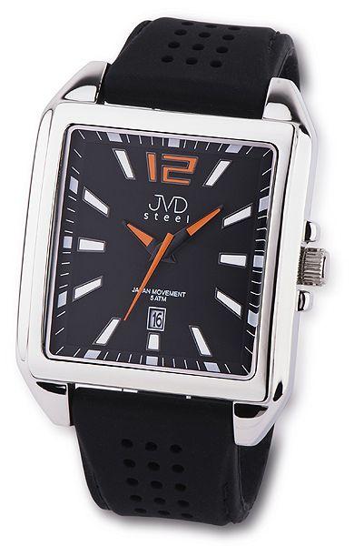 Ocelové moderní hranaté pánské náramkové hodinky JVD steel J1081.2