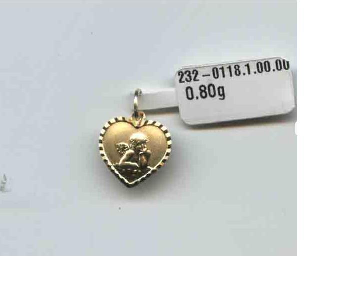 Zlatý přívěsek - zlatý anděl v srdíčku ze žlutého zlata 585/0,8gr P112