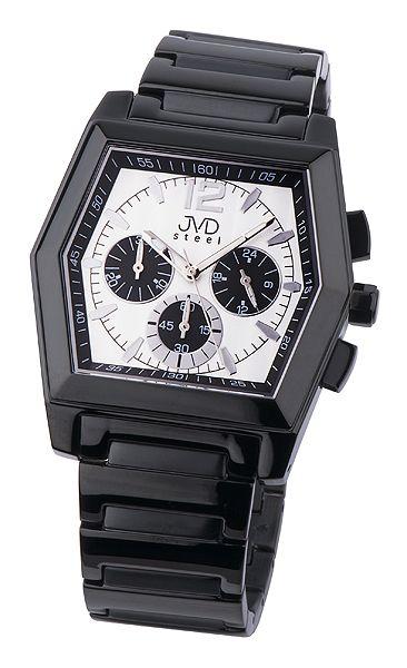 Moderní ocelové černé pánské náramkové hodinky JVD steel C1126.3 ... 863c371260