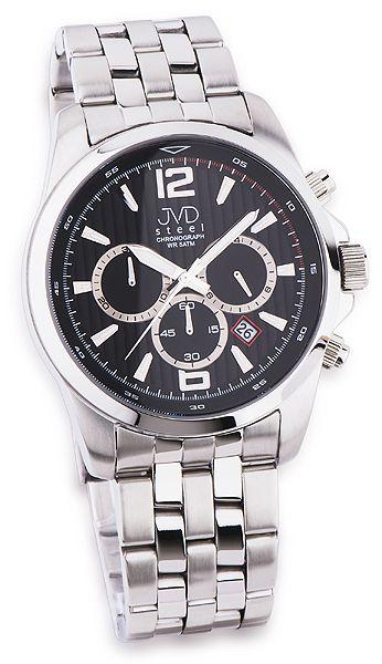 Luxusní pánský chronograf se stopkami hodinky JVD steel JA601.2 s černým číselní